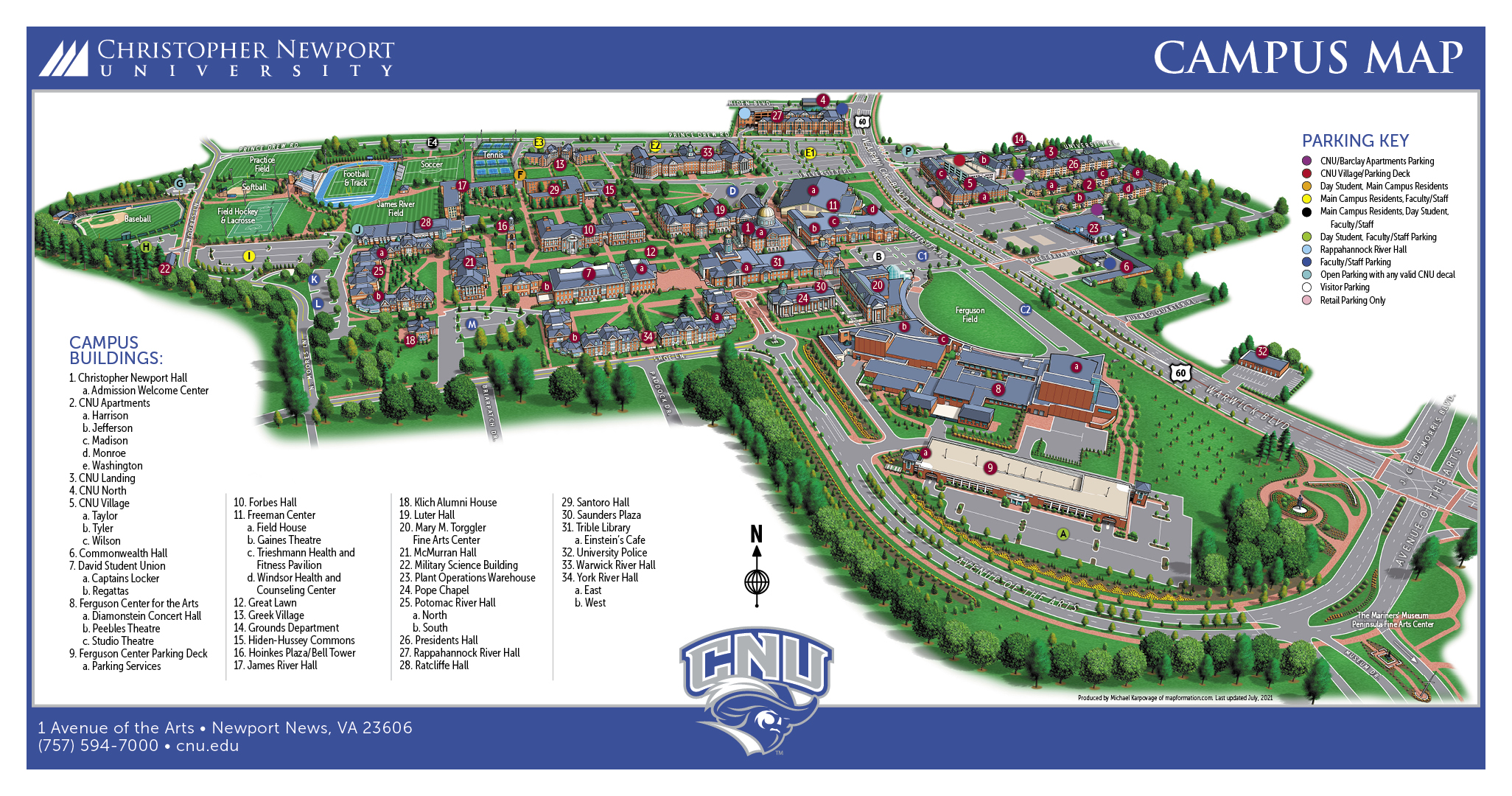 Old Dominion Campus Map.Campus Map Visit Christopher Newport University