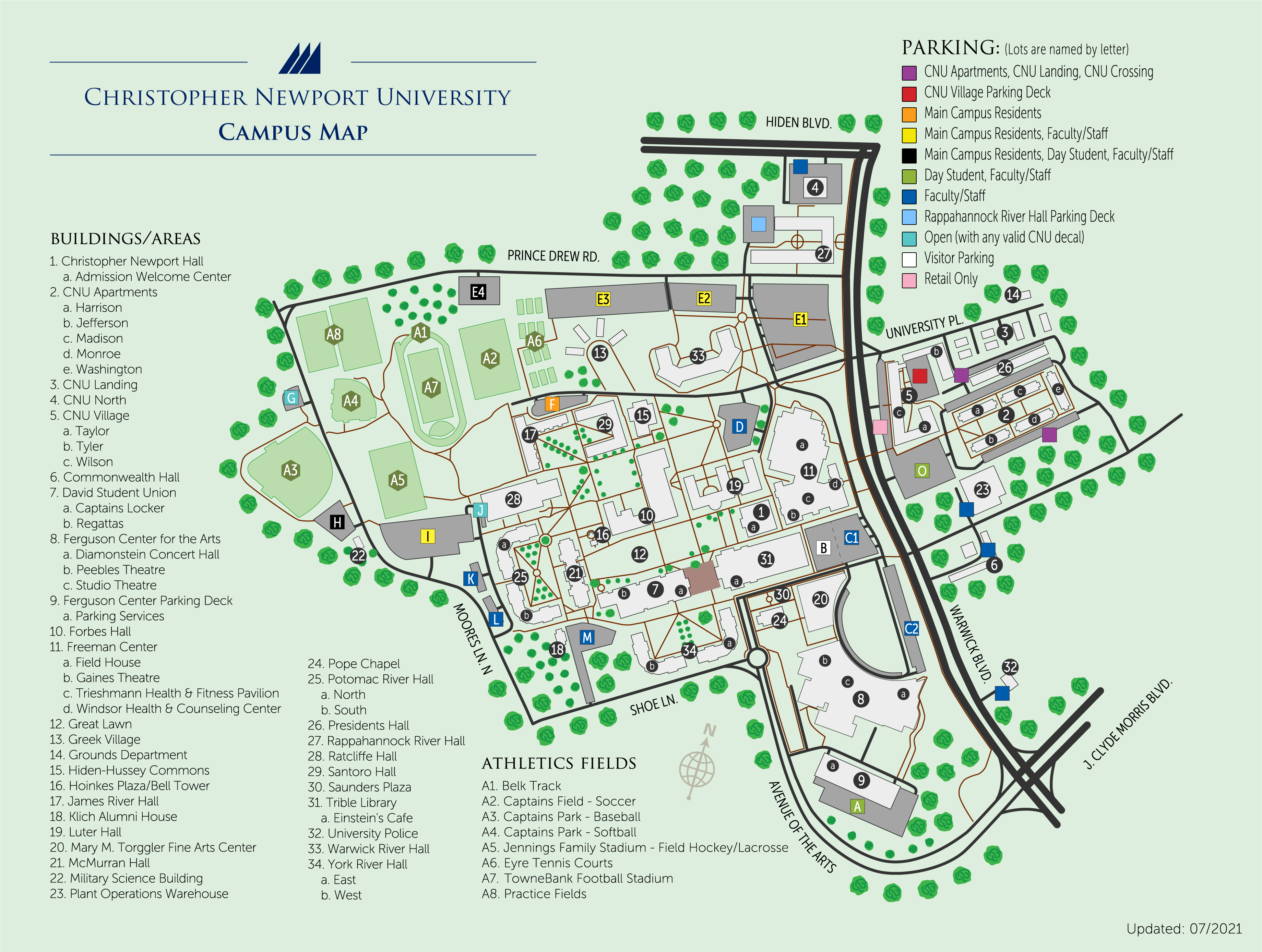 Cnu Campus Map Parking Maps   Parking and Transportation Services   Christopher  Cnu Campus Map