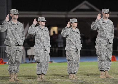 ROTC cadets in fatigues