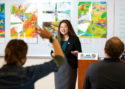 Student teaching in a classroom