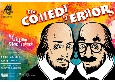 Comedy of Errors theater poster with portrait illustrations of William Shakespeare and Groucho Marx against a paint splattered background