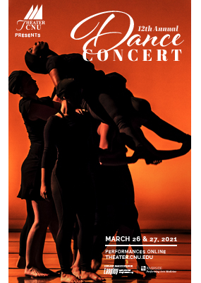 12th Annual Dance Concert poster featuring a silhouette of dancers lifting another dancer into the air against a red backdrop