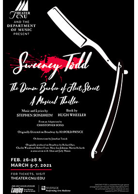 Sweeney Todd theater poster featuring an illustration of a white straight-razor against a black background and a red splatter representing blood