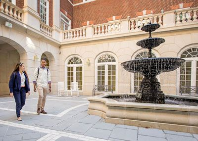 Christopher Newport Hall courtyard fountain