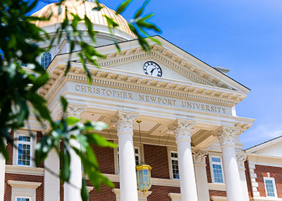 Closeup of Christopher Newport University on front of CNH