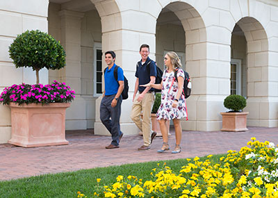 Students walking in front of CNH