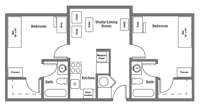 CNU Apartments two room layout