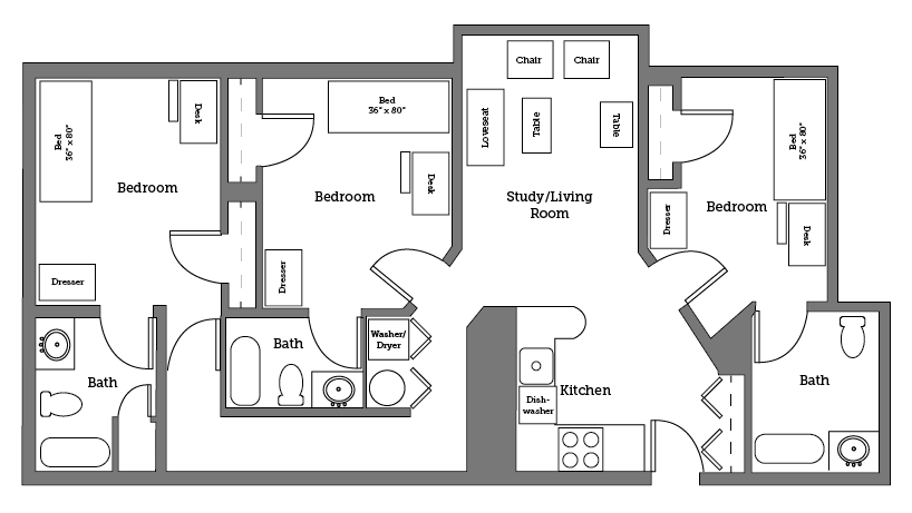 Cnu Apartments Three Room Layout