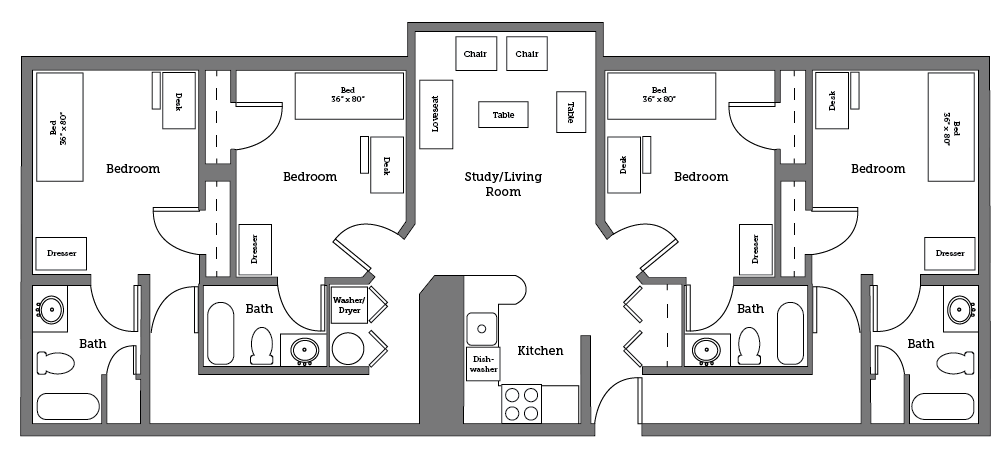 CNU Apartments four room layout