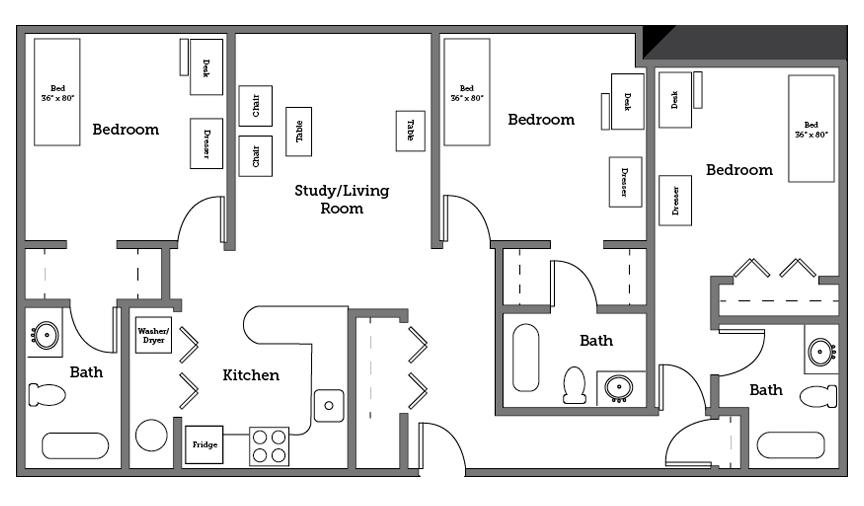 CNU Village three room layout