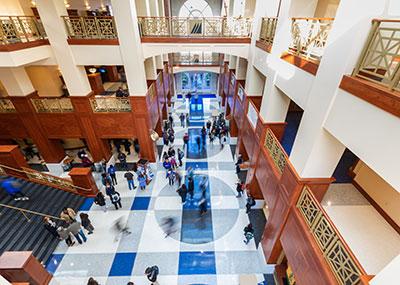Students walking through DSU