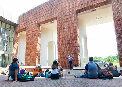 Having class outside at the Ferguson Center