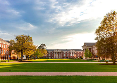 Spring morning on the Great Lawn looking towards McMurran