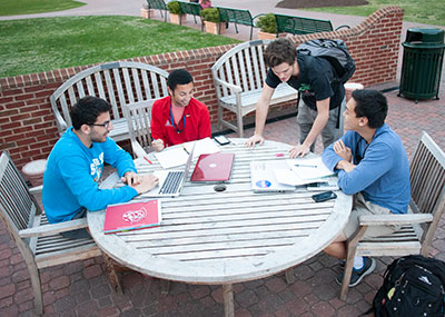 Group of students sitting at a table talking