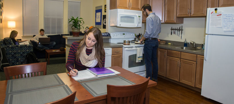 Students in a residence hall