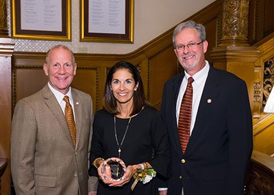 Spiller with Dr. Keith Taylor (left), president of Gannon University, and Greg Czarnecki, president of the Gannon University Alumni Association
