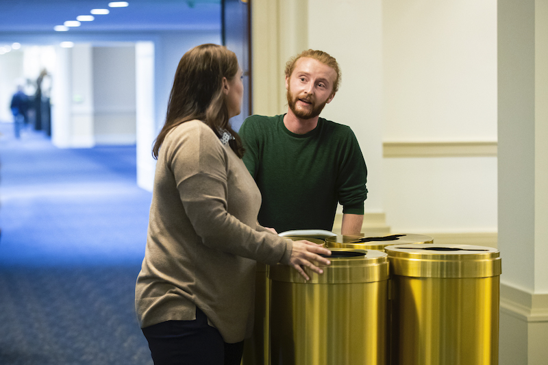 Jen Jones and James Duffy with new recycling and trash bins