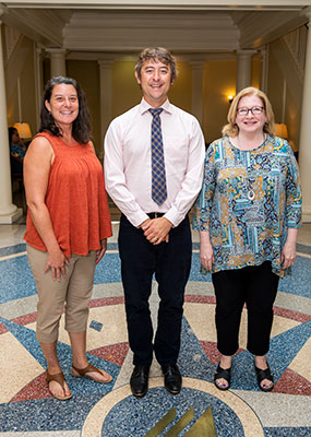 The 2019 Faculty Excellence Awards winners are (left to right) Dr. Linda Waldron, Dr. Brent Cusher, Denise Gillman and Dr. Mark Padilla (not pictured).