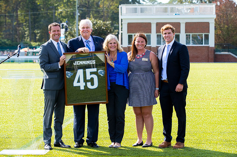 Left to right: Kyle McMullin, director of athletics; Bruce Jennings; Laurie Jennings; Lisa Valentine, women's lacrosse coach and Mikey Thompson, men's lacrosse coach