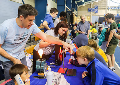 CNU faculty and students demonstrate science, technology, engineering and math experiments for local children.