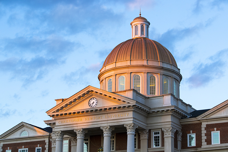 Christopher Newport Hall at sunset