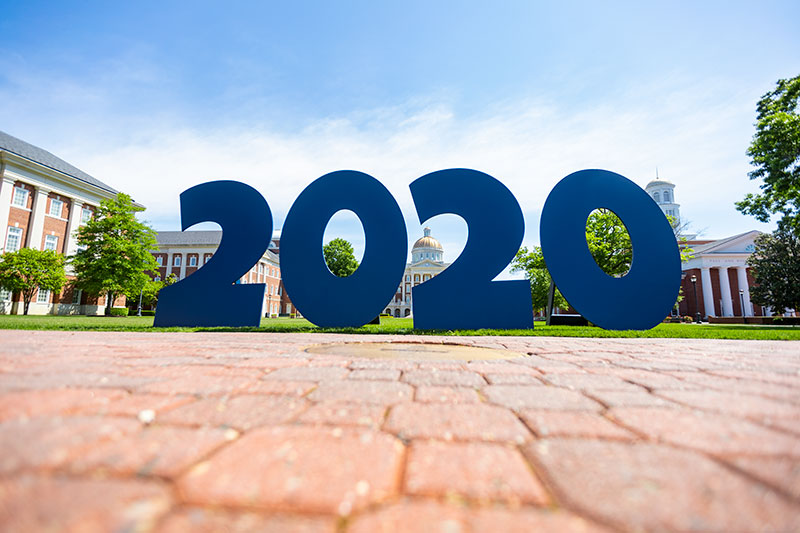 Class of 2020 sign on the Great Lawn