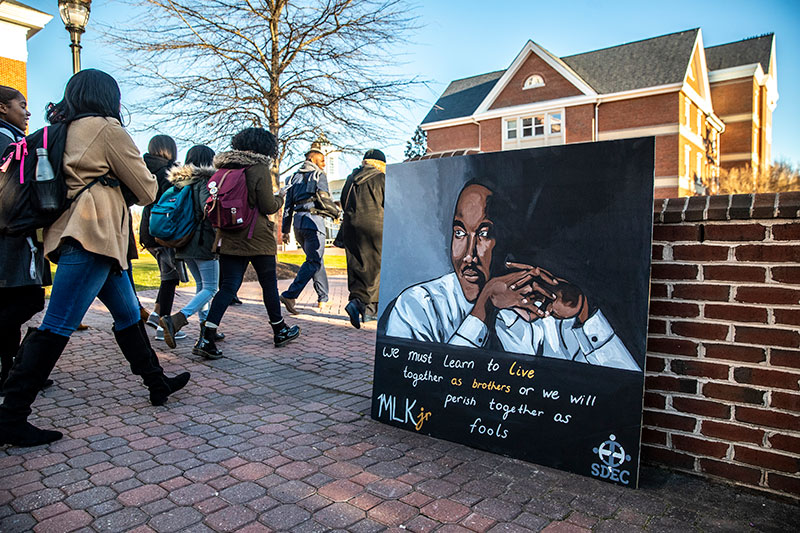 Students march during 2019 MLK day event