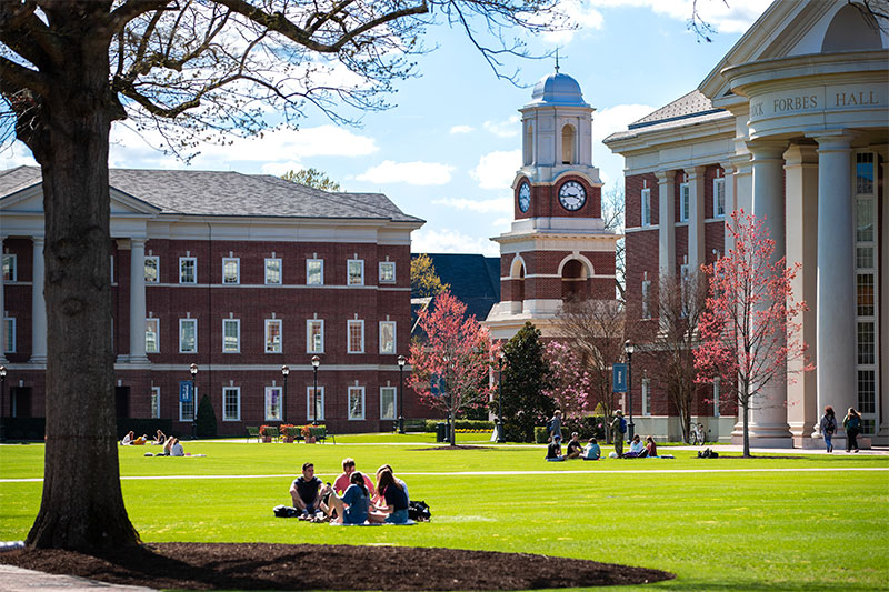 Students sitting in a circle on the Great Lawn