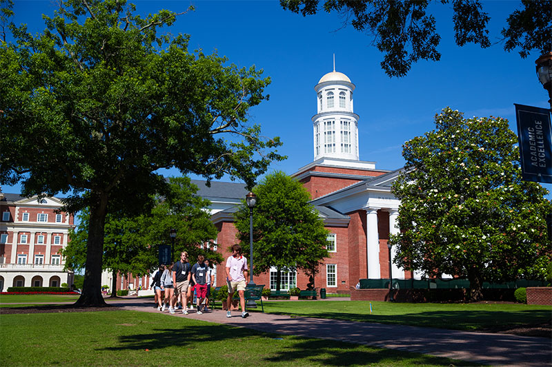 Students walk along the Great Lawn