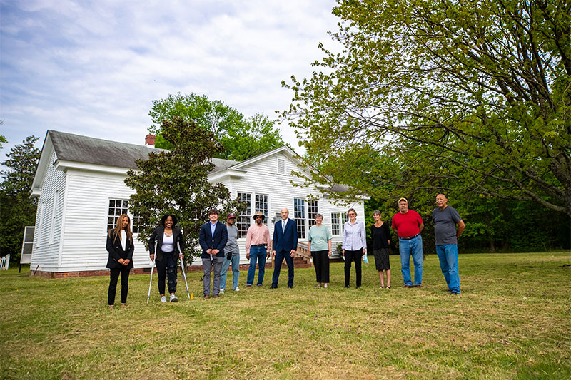 The CNU team and members of the Woodville Rosenwald School Foundation in front of the Woodville School