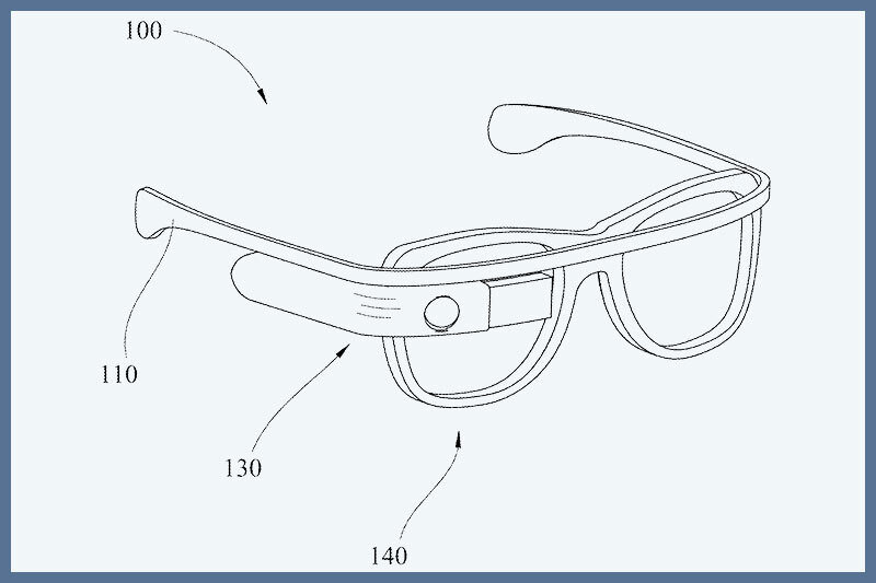 A drawing of the optical head-mounted device from the U.S. patent document