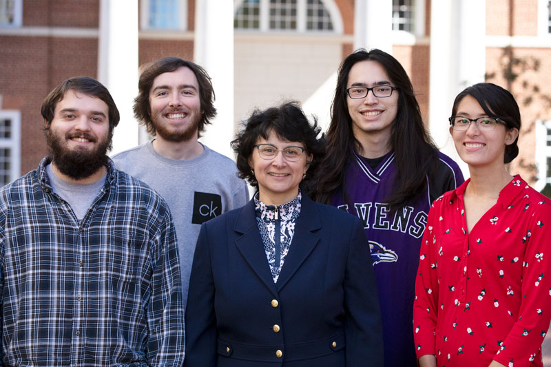 Photo of the research team, from left to right, John Herrmann, Daniel Wright, Dr. Iordanka Panayotova, Nathan Kolling and Emily Adams