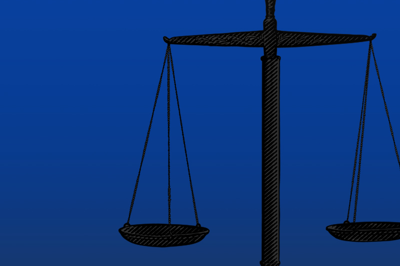Graphic of scales of justice on a blue background