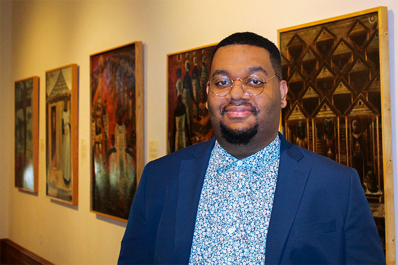 Kelontae' Turner in the gallery of the Hampton University Museum