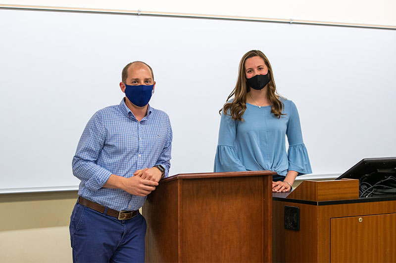 Tim Pressley (left) and Hannah Croyle in the classroom
