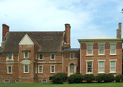 Exterior of Bacon's Castle historic house in Surry, Virginia
