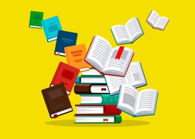 Illustration of multiple books