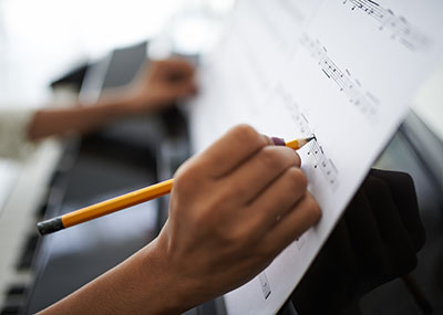 Person composing music