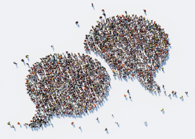 Crowd of people in a speech bubble shape