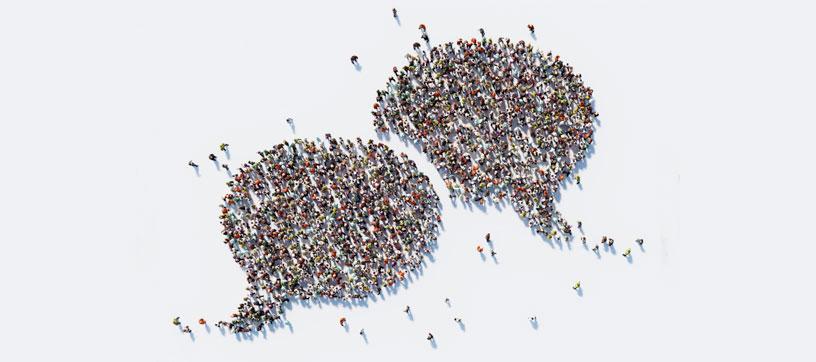 Crowd of people in a speech bubble shape