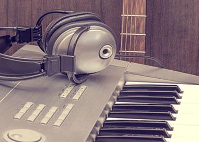 Headphones and keyboard