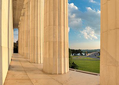 Arlington bridge seen from the Lincoln memorial at sunset