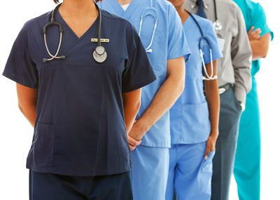 Medical professionals in scrubs