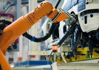 Robot building a car