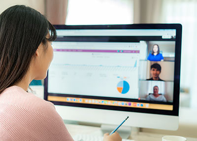 Woman at computer on video chat