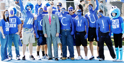 CNU students love cheering the Captains to victory, and the newly established Blue Crew is building even greater school spirit! When you attend a CNU game, you'll spot these loyal fans leading cheers, waving CNU signs, and sporting Blue Crew T-shirts, body paint and bright blue wigs.